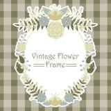 黄色和蓝色花花圈花卉框架传染媒介设计 库存照片