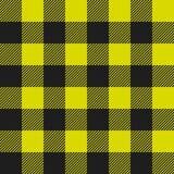 黄色和黑色美洲野牛检查格子花呢披肩无缝的样式 皇族释放例证
