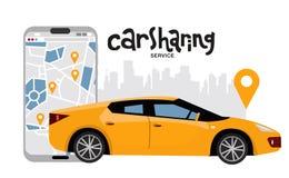 黄色城市汽车侧视图有大手机的有在屏幕上的汽车分享应用的 租的轿车车与城市 向量例证