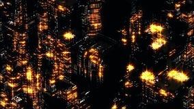 黄色夜城市抽象夜场面  Loopable 皇族释放例证