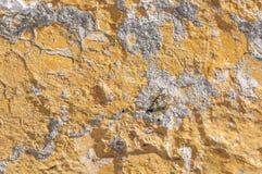 黄色大厦墙壁接近的看法崩裂了和打破的建筑学 免版税图库摄影