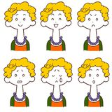黄色头发妇女六个不同表情  皇族释放例证