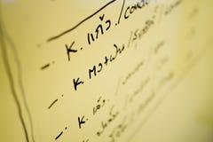 黄色委员会文字记录要做什么 免版税库存图片