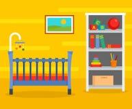 黄色婴孩室背景,平的样式 皇族释放例证