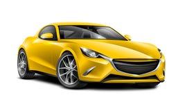 黄色小轿车运动的汽车 有光滑的表面的普通汽车在白色背景 免版税图库摄影