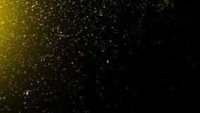 黄色微粒影响在黑背景隔绝的尘土残骸,行动粉末在纹理的浪花爆炸 r 皇族释放例证