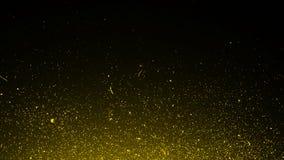 黄色微粒影响在黑背景隔绝的尘土残骸,行动粉末在纹理的浪花爆炸 r 库存例证