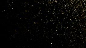 黄色微粒影响在黑背景隔绝的尘土残骸,行动粉末在黑暗的纹理的浪花爆炸 皇族释放例证