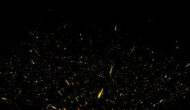黄色微粒影响在黑背景隔绝的尘土残骸,行动粉末浪花纹理 向量例证