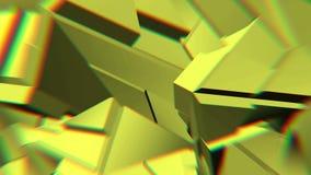 黄色抽象多角形打破的形状动摇无缝的圈 3D动画 库存例证
