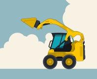 黄色挖掘机,与云彩的天空在背景中 与地球搬家工人的横幅布局 免版税图库摄影