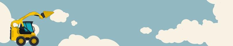 黄色挖掘机,与云彩的天空在背景中 与地球搬家工人的水平的横幅布局 免版税库存照片