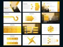 黄色捆绑infographic元素介绍模板 企业年终报告,小册子,传单,广告飞行物, 库存图片