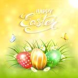 黄色晴朗的背景用在草的复活节彩蛋 库存图片