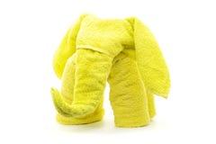 黄色毛巾大象 免版税库存照片