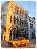 黄色汽车在哈瓦那在古巴 库存图片