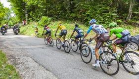 黄色泽西小组-环法自行车赛2017年 免版税库存照片