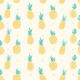 黄色淡色菠萝无缝的样式 皇族释放例证