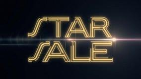 黄色激光霓虹星销售文本出版与在黑背景-新的质量的发光的轻的光学火光动画 向量例证