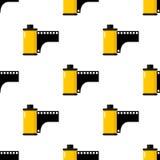 黄色照片卷筒软片无缝的样式 免版税库存图片