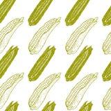 黄色玉米棒子无缝的样式 库存例证