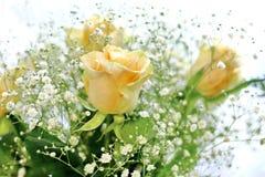 黄色玫瑰和白色小的花美丽的花束有迷离背景 库存照片