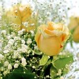 黄色玫瑰和白色小的花美丽的花束有迷离背景 免版税库存照片