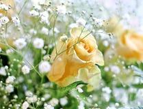 黄色玫瑰和白色小的花美丽的花束有迷离背景 免版税库存图片