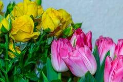 黄色玫瑰和红色郁金香在一个花瓶 库存照片