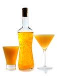 黄色瓶coctails 库存照片