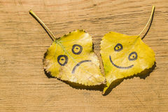 黄色离开与图片的愉快和哀伤在与镇压的老木背景 免版税库存图片