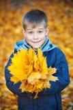 黄色秋天叶子背景的愉快的男孩  免版税图库摄影