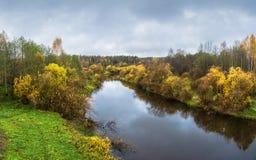 黄色秋天树的装饰的一条小河 免版税库存照片