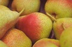 黄色红色成熟梨水多的果子背景纹理在市场特写镜头的 库存照片