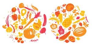 黄色红色色各种各样菜和果子在圈子 餐馆菜单或农厂市场的标签 库存照片