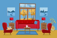 黄色红色蓝色的客厅 有桌的,nightstand,绘画,灯,花瓶,地毯,瓷集合,软的椅子红色沙发 皇族释放例证