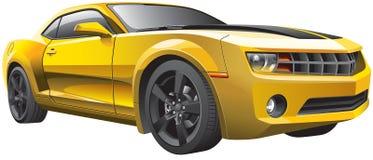 黄色肌肉汽车 图库摄影