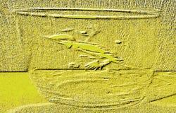 黄色背景 有一只鸟的图片的透明盖帽在它的边的 免版税库存照片