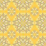 黄色花卉无缝的样式 与花设计的背景 库存图片