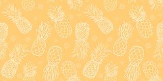 黄色菠萝无缝的重复样式设计 免版税库存图片