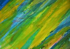 黄色蓝绿色磷光性泥泞的对比,油漆水彩创造性的背景 图库摄影