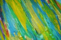 黄色蓝色橙色泥泞的对比,油漆水彩创造性的背景 库存图片