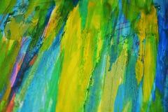 黄色蓝色泥泞的对比,油漆水彩创造性的背景 免版税图库摄影