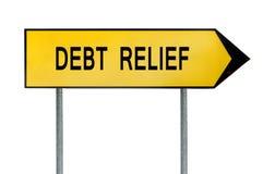 黄色街道概念债务减免标志 免版税库存照片