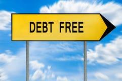 黄色街道概念债务释放标志 免版税库存照片