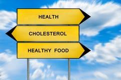 黄色街道概念健康,食物,胆固醇标志 免版税图库摄影