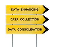 黄色街道概念数据标志 免版税库存图片