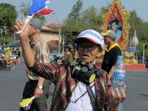 黄色衬衣抗议者在曼谷 图库摄影