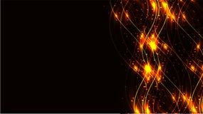 黄色透明抽象发光的不可思议的宇宙不可思议的能量标示,发出光线用强光,并且小点和光在一黑暗的backgro发光 库存例证