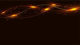 黄色透明抽象发光的不可思议的宇宙不可思议的能量标示,发出光线用强光,并且小点和光在黄色backg发光 皇族释放例证
